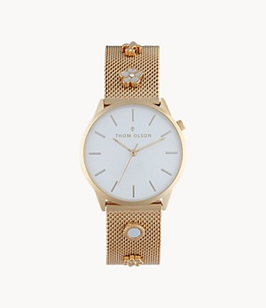 Thom Olson Women's Gold-Tone Mesh Bracelet Watch 34mm
