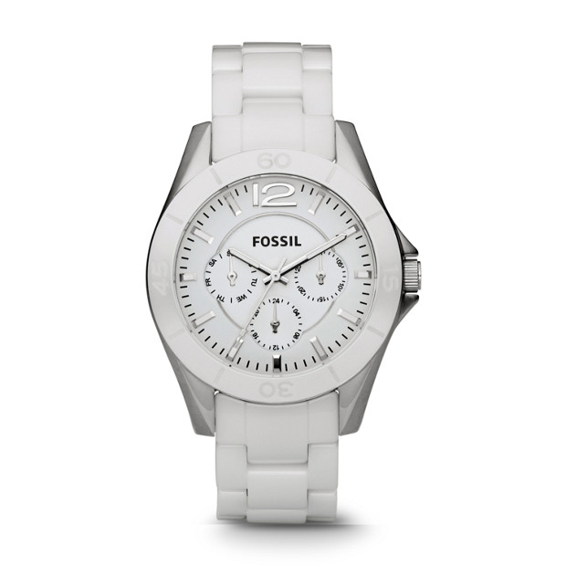 Riley Multifunction Ceramic White Watch