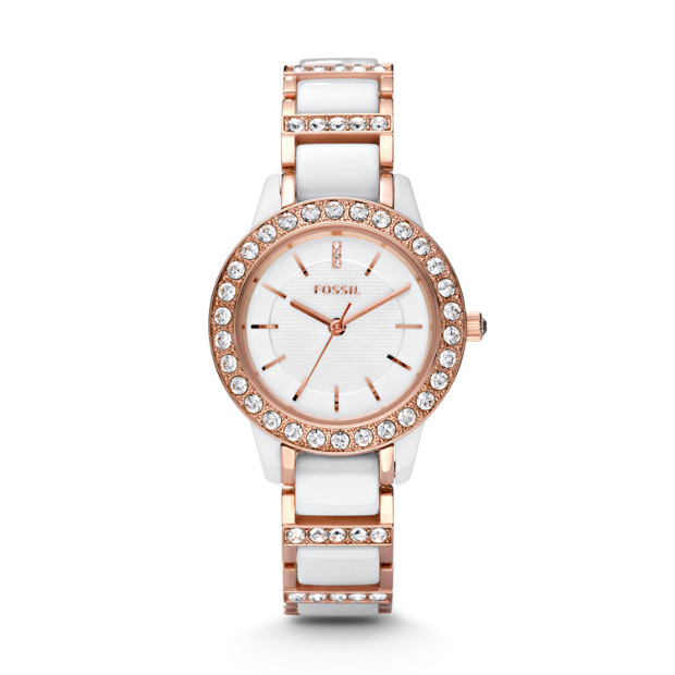 Jesse Ceramic White & Rose-Tone Watch