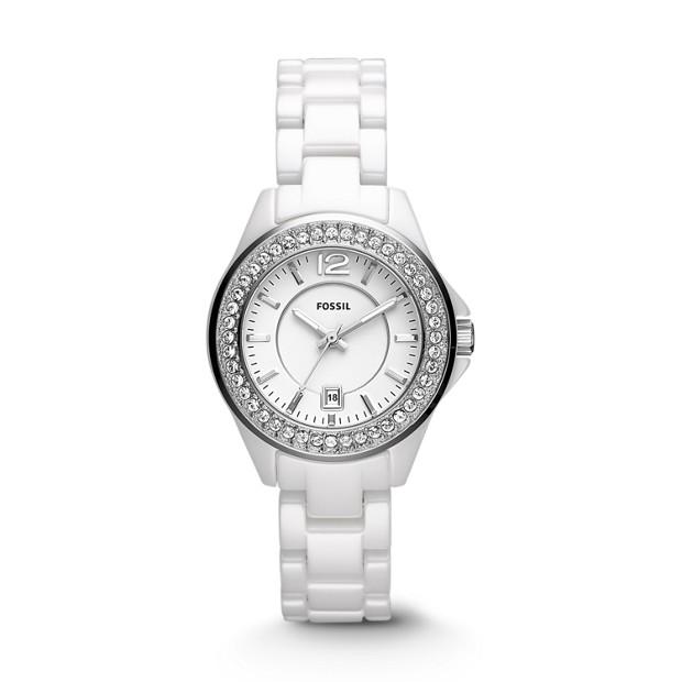 Riley Mini Three-Hand Ceramic Watch - White