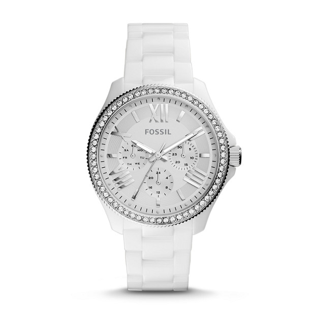 Cecile Multifunction Ceramic White Watch