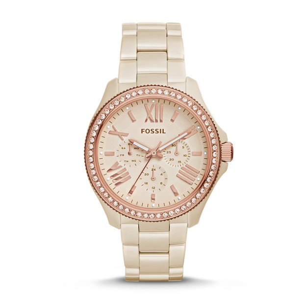 Cecile Multifunction Toasted Almond Ceramic Watch