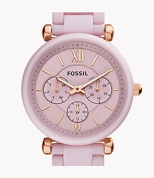 Carlie Multifunction Pink Ceramic Watch