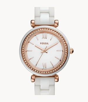 Carlie Mini Three-Hand White Ceramic Watch