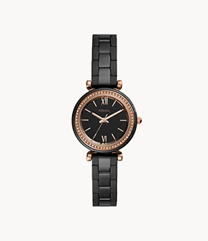 Carlie Mini Three-Hand Black Ceramic Watch