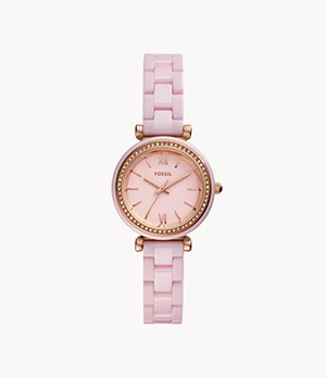Carlie Mini Three-Hand Pink Ceramic Watch