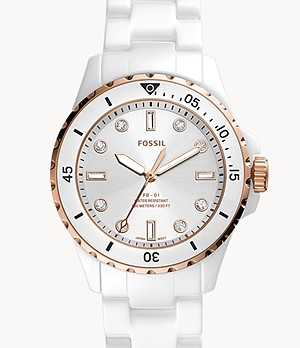 FB-01 Three-Hand White Ceramic Watch