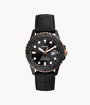 FB-01 Three-Hand Date Black Silicone Watch