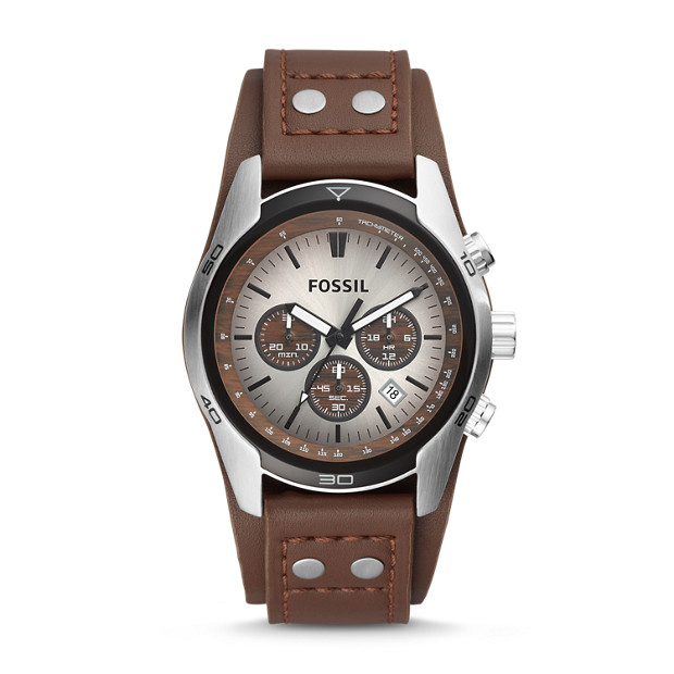 coachman chronograph brown leather watch fossil. Black Bedroom Furniture Sets. Home Design Ideas