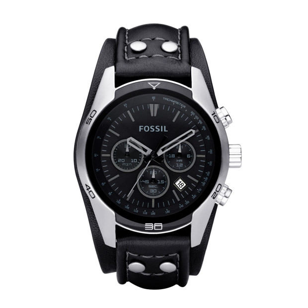 Sport Cuff Leather Watch – Black