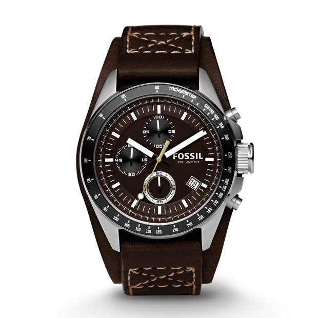 Decker Chronograph Brown Leather Watch