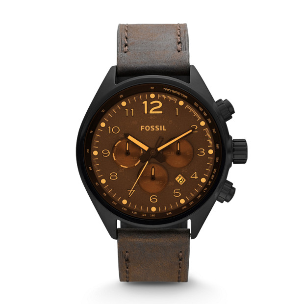 Flight Chronograph Leather Watch - Brown
