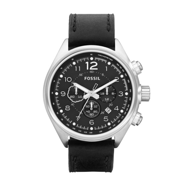 Flight Chronograph Black Leather Watch