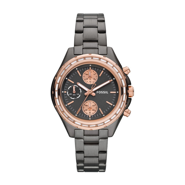 Dylan Chronograph Stainless Steel Watch – Smoke with Rose