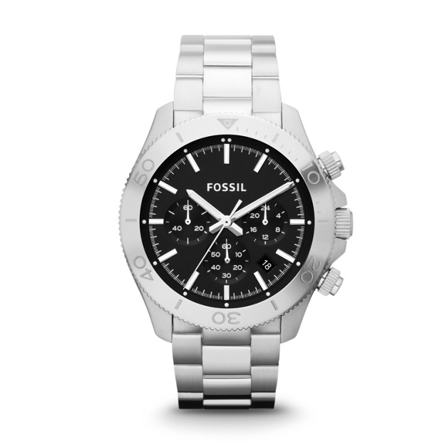 Retro Traveler Chronograph Stainless Steel Watch