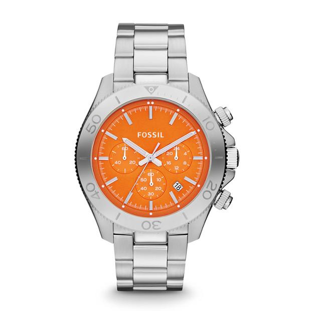 Retro Traveler Chronograph Stainless Steel Watch