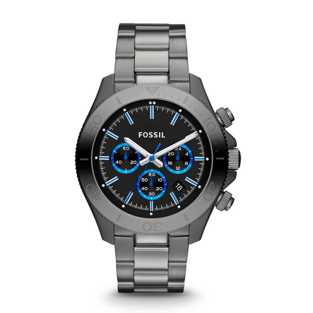 Retro Traveler Chronograph Smoke Stainless Steel Watch
