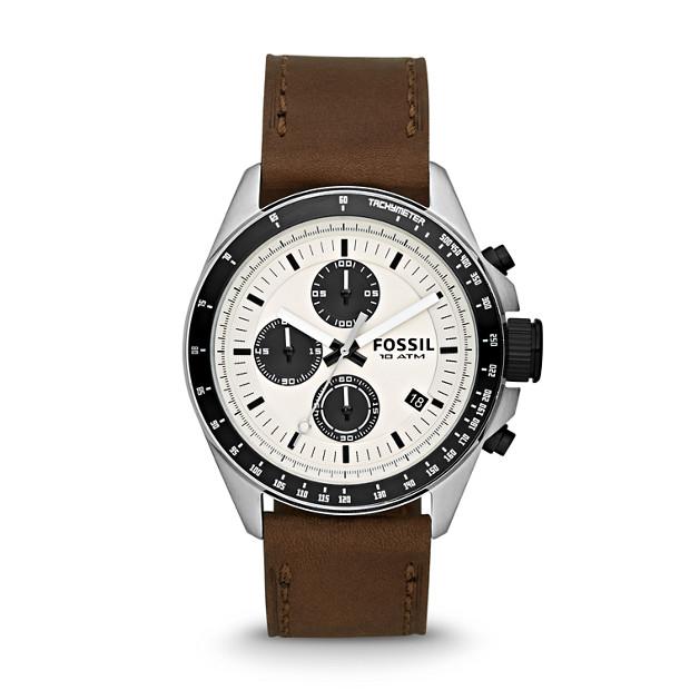 Decker Chronograph Leather Watch - Brown