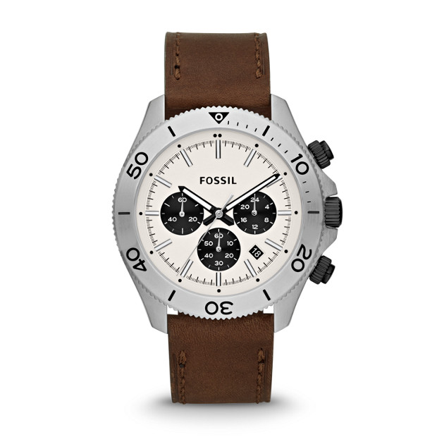 Retro Traveler Chronograph Brown Leather Watch