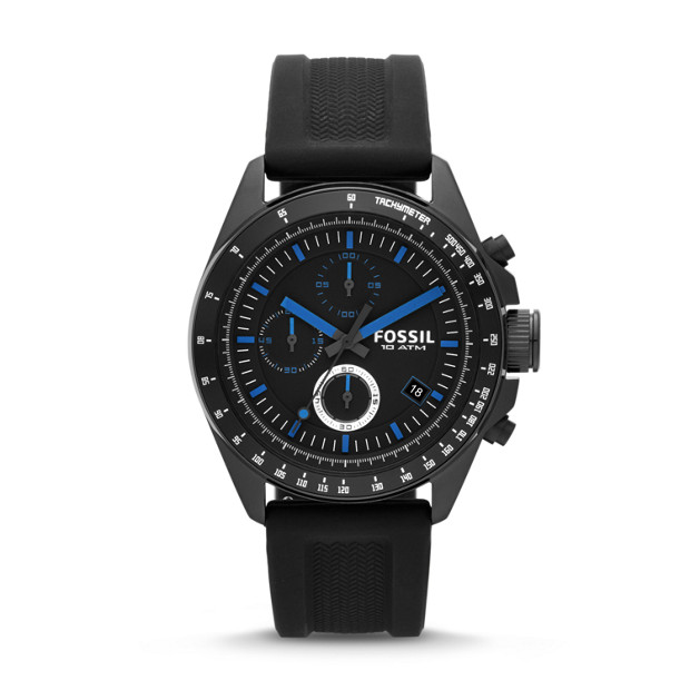 Decker Chronograph Silicone Watch - Black