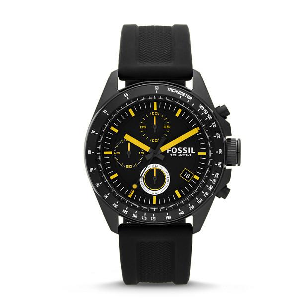 Decker Chronograph Silicone Watch - Black