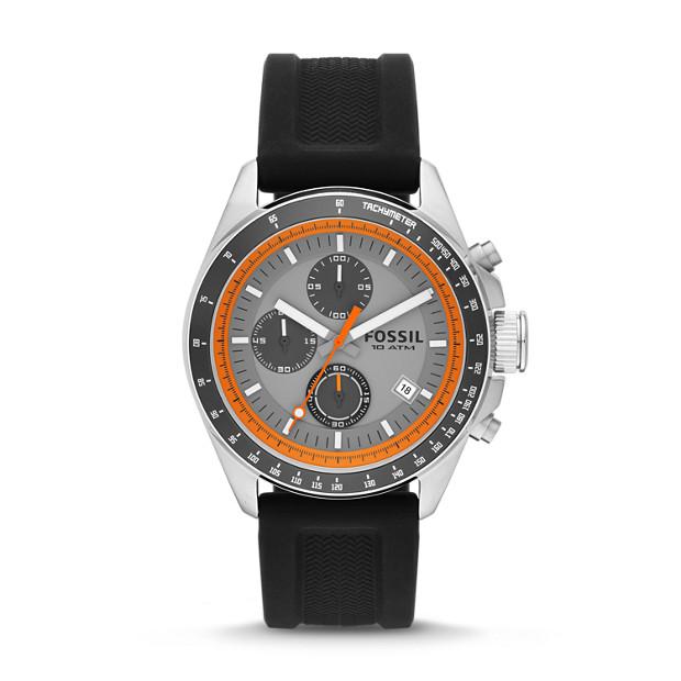 Decker Chronograph Black Silicone Watch