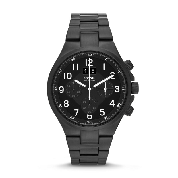 Qualifier Chronograph Black Stainless Steel Watch