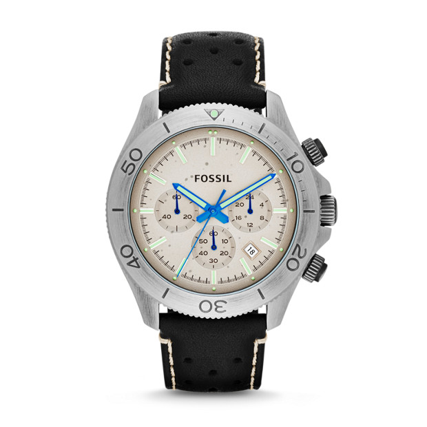 Retro Traveler Chronograph Leather Watch - Black