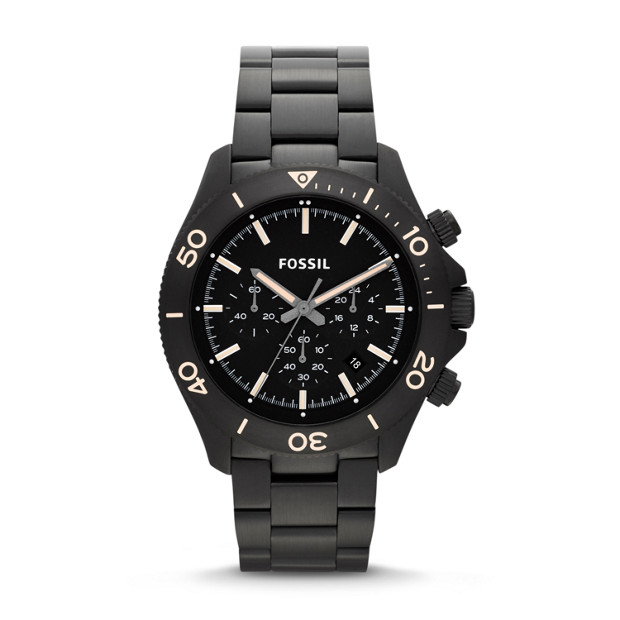Retro Traveler Chronograph Black Stainless Steel Watch