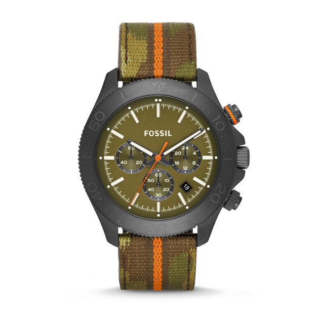 Retro Traveler Chronograph Nylon and Leather Watch - Camo
