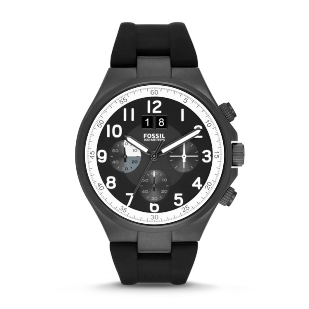 Qualifier Chronograph Silicone Watch - Black