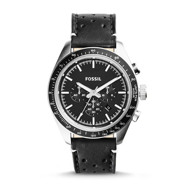 Edition Sport Chronograph Leather Watch - Black