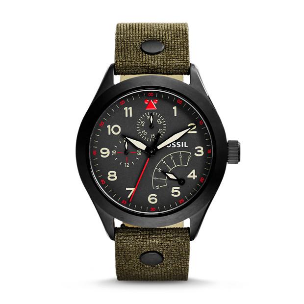 Aeroflite Multifunction Olive Leather Watch
