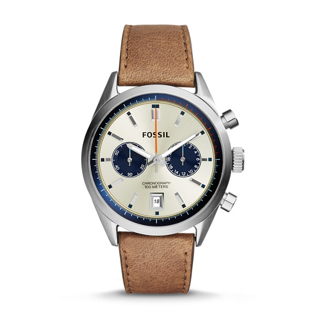 Del Rey Chronograph Tan Leather Watch
