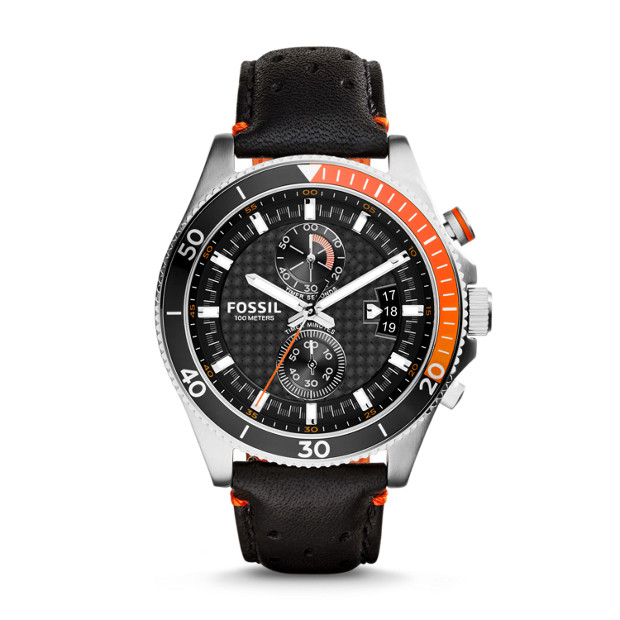 Wakefield Chronograph Black Leather Watch