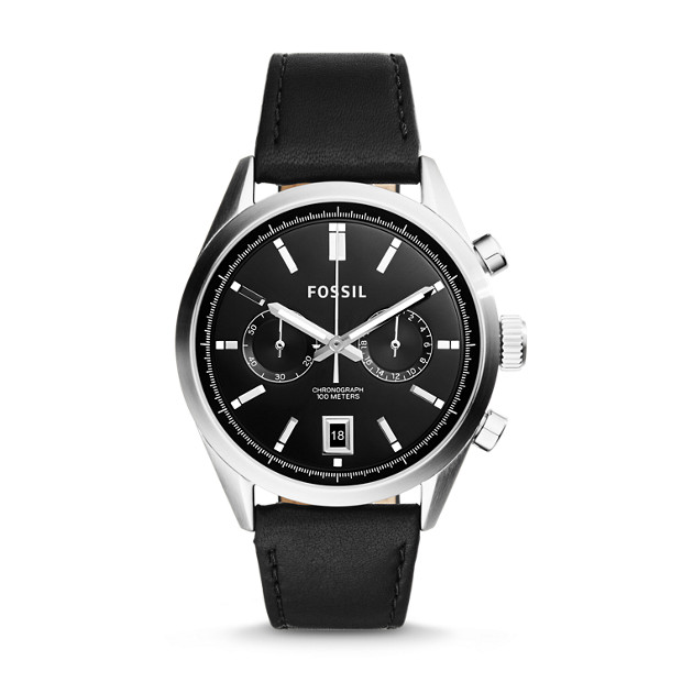Del Rey Chronograph Black Leather Watch