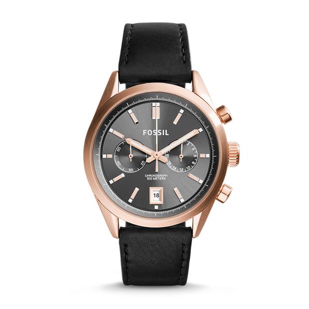 Del Rey Chronograph Black Leather Watch