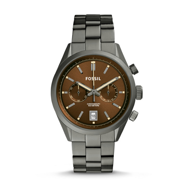 Del Rey Chronograph Smoke Stainless Steel Watch