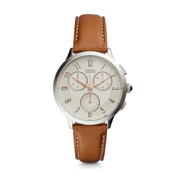 Fossil - Abilene Chronograph Dark Brown Leather Watch - 1