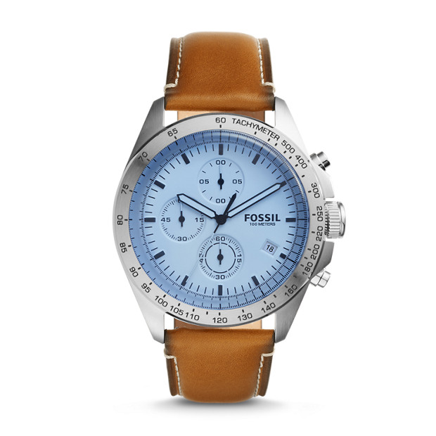 Montre Sport 54 chronographe en cuir brun