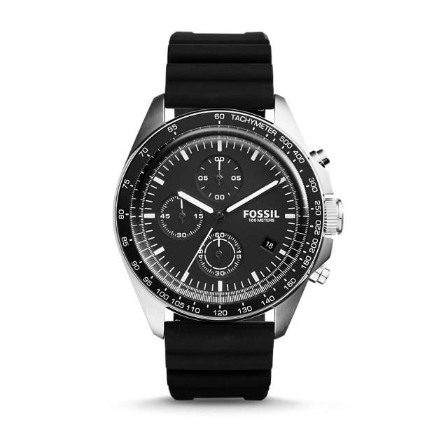 Sport 54 Chronograph Black Silicone Watch