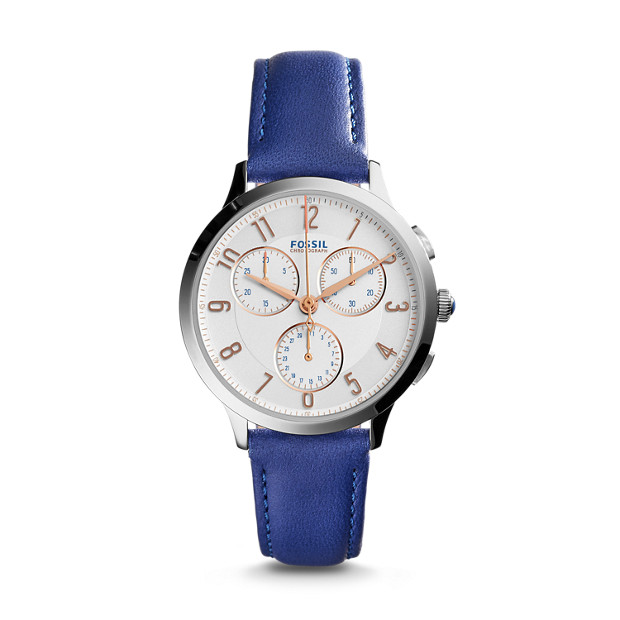 Damenuhr Abilene - Stopp - Chronograph - Leder - Blau