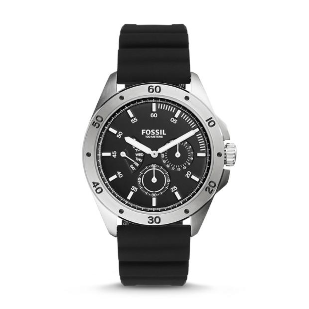 Sport 54 Multifunction Black Silicone Watch