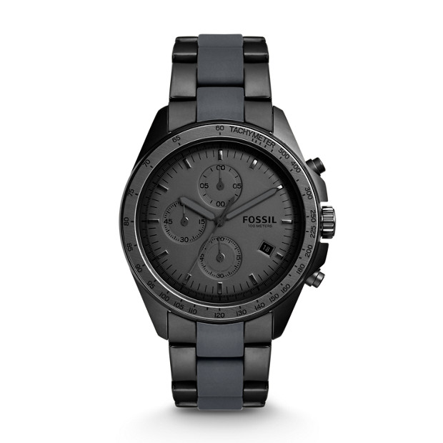 Sport 54 Chronograph Black Stainless Steel Watch