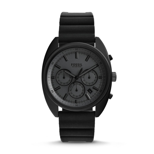 Drifter Chronograph Black Silicone Watch