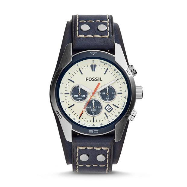 Montre Coachman chronographe en cuir bleu