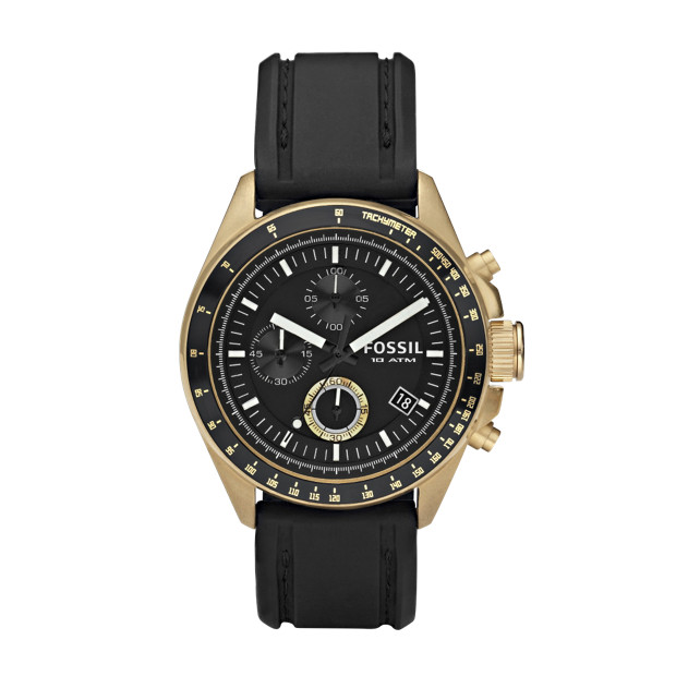 Decker Silicone Watch - Black with Vintaged Bronze