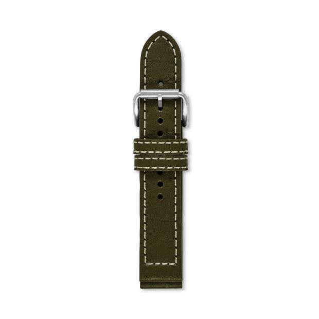 Defender Leather Watch Strap - Olive Green