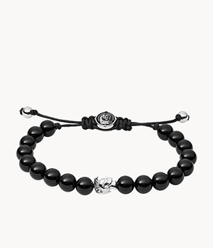 Diesel Men's Stacked Black Agate Bead Bracelet