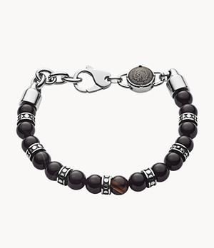 Diesel Men's Beaded Black Line Agate Bracelet